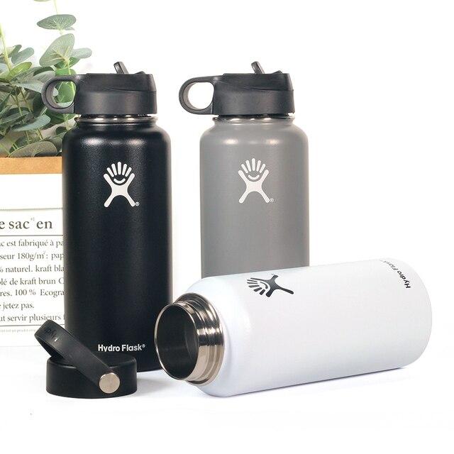 18 32/OZ 하이드로 플라스크 절연 스테인레스 스틸 워터 보온병 병 와이드 입 텀블러 여행 찻잔 짚 뚜껑이 달린 커피 쿨러