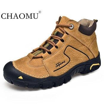 Nuevos zapatos de hombre de cuero resistentes al agua para primavera zapatos ligeros antideslizantes resistentes al desgaste para senderismo y escalada