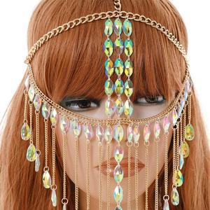 Image 4 - Mask Ball for Women   Gold Metal Rhinestone Grystal Face Chain Mask Jewelry for Women