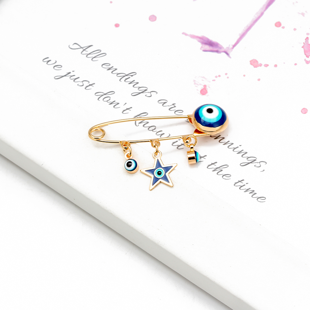 Lucky Eye Blue Turkish Evil Eye Brooch Pin for Women Men Dropping Oil Flower Crown Star Hamsa Hand Charm Fashion Jewelry BD52 4