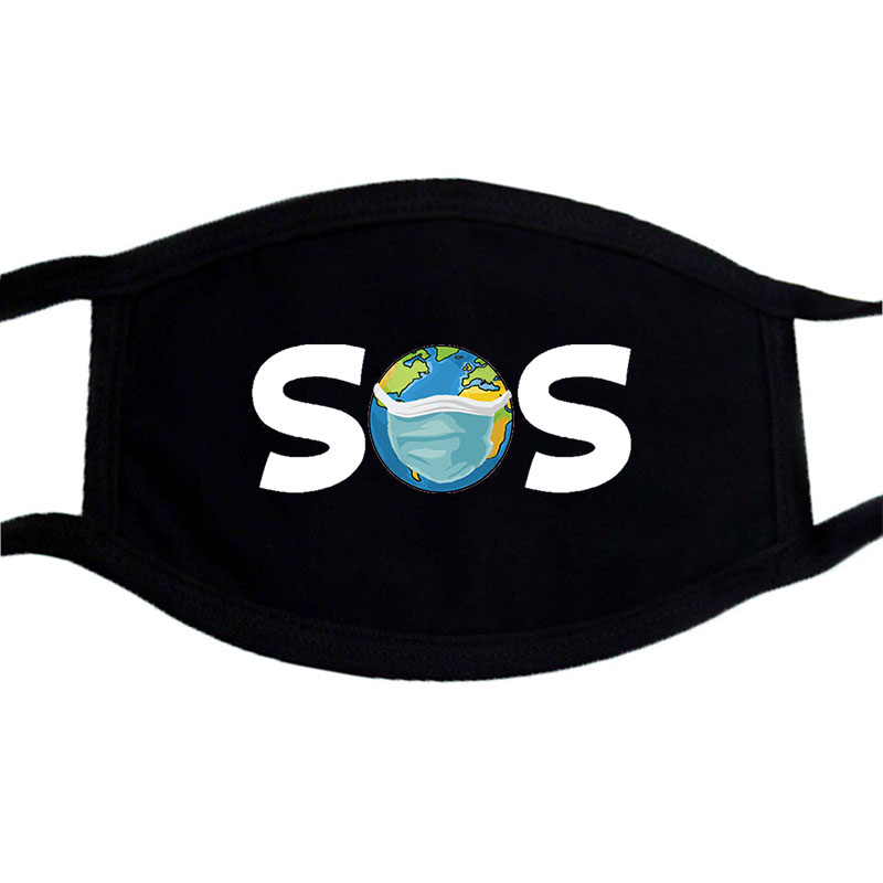 Earth For Help SOS Cartoon Mask Lovely Cotton Unisex Masks Respirator Keep Warm Cute Washable Mask Anti Dust Mouth Muffle Masks