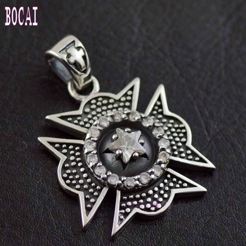 Thailand imported Zircon iron cross, Silver Pendant