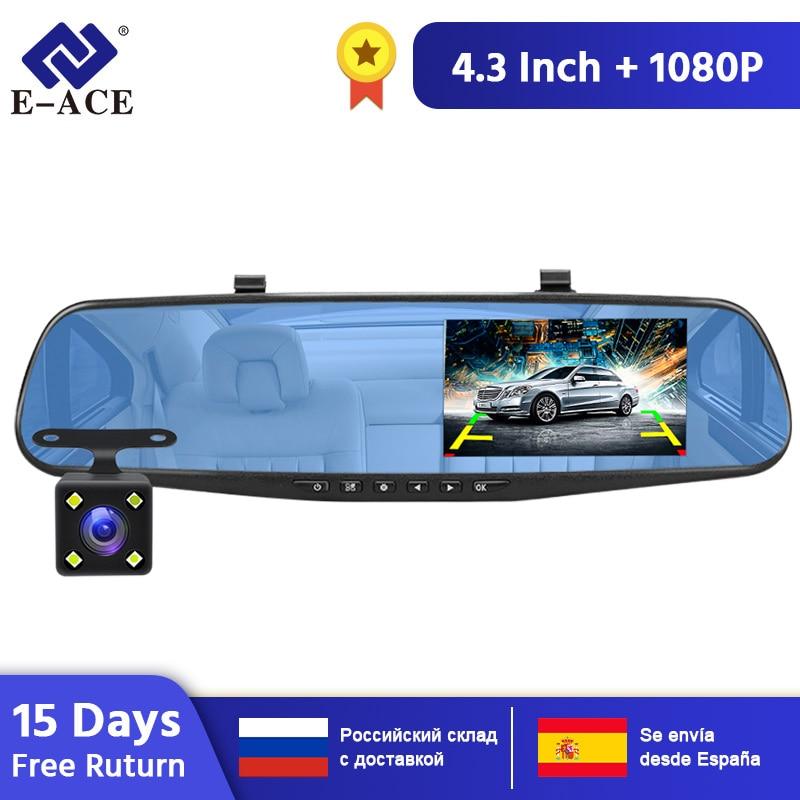 E-ACE 4,3 Inch Auto Dvr Kamera Full HD 1080P Automatische Kamera Rückspiegel Mit DVR Und kamera Recorder Dashcam Auto DVRs
