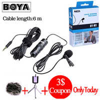 Boya By-m1 BY-M1DM Lav Lavalier microfone Omnidirectional Condenser Microphone 3.5mm Mic for Canon / iPhone DSLR Audio Recorders
