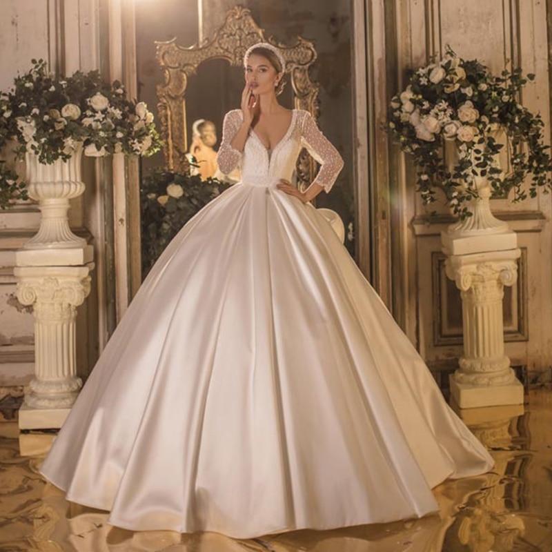 2020 Mikado Royal V Neck Three Quarter Long Sleeve Backless Cathedral Wedding Dress Bridal GownWedding Dresses   -