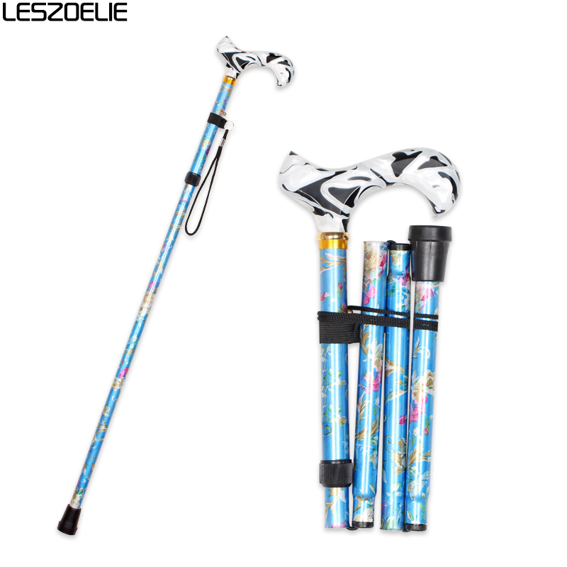 Women Folding Walking Stick 2019 Fashion Walking Canes Lady Decorative Floral Walking Sticks Female Luxury Adjustable Cane