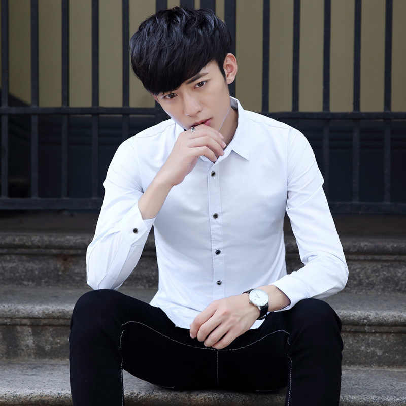 Mann Luxus Stilvolle Beiläufige Geschäfts Formalen Shirt Langarm Büro Arbeiter Revers Shirts Einfarbig Slim Fit Shirts