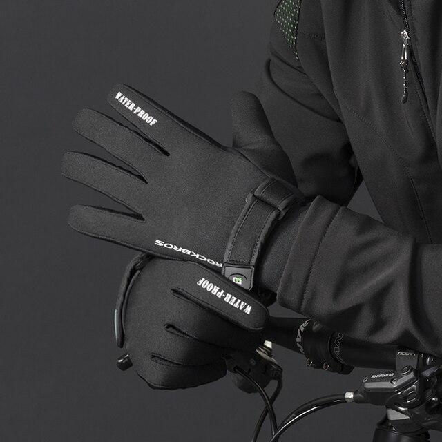 Inverno-40 ROCKBROS Grau Luvas de Ciclismo de Lã Manter Quente Luvas de Tela de Toque À Prova D' Água para Bicicleta Moto Esqui Caminhadas 5