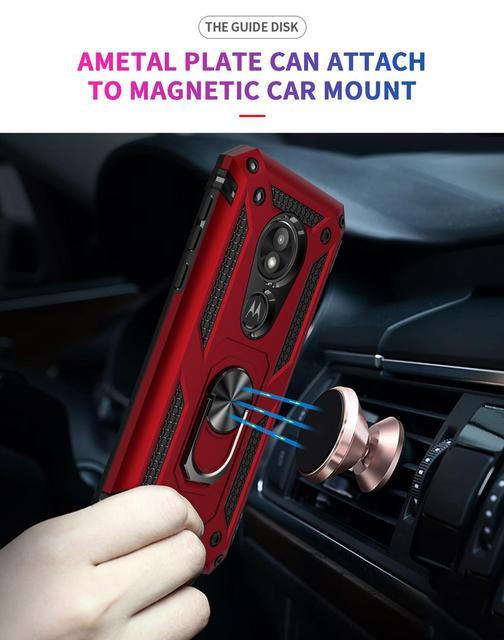 Coque de téléphone antichoc pour MOTOROLA G7 E6 G8 Plus G6 Z4 E5 Play US voiture support de bague magnétique Anti-chute béquille