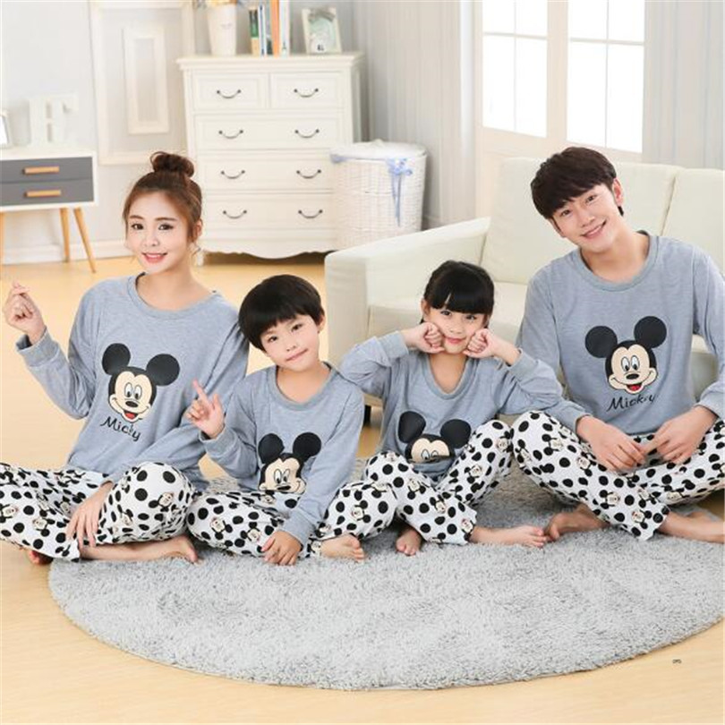 Family Matching Pajamas Mickey Mother Daughter Father Son Pyjamas Set Mommy And Me Nightwear Clothes Daddy And Son Outfits