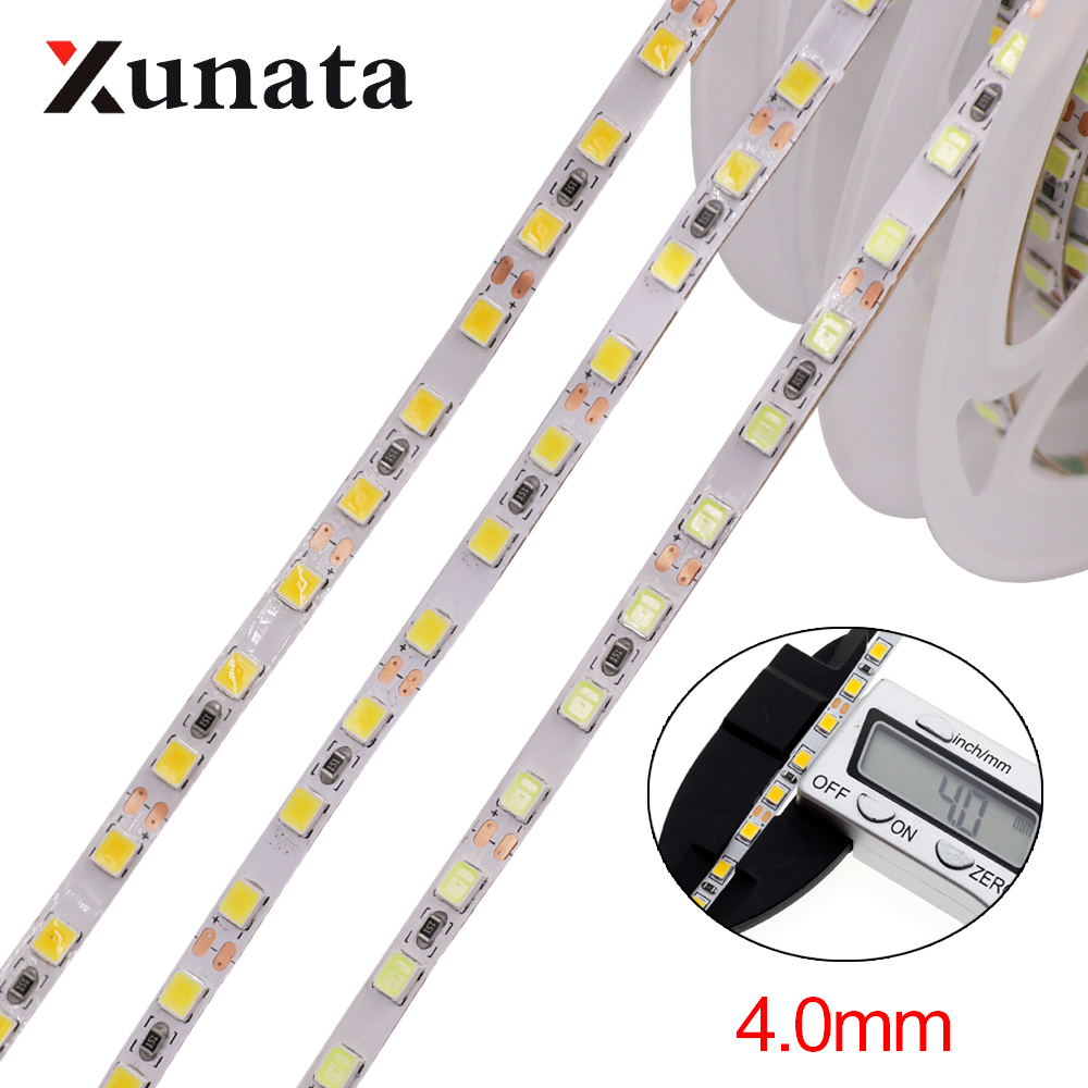 5m LED Strip 2835 SMD 120LEDs/m DC12V 4MM Flexible LED Rope Ribbon Tape LED Light Lamp Natural White / Warm White