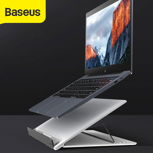 Image 1 - Baseus Mesh Portable Laptop Stand for Macbook pro Stand Foldable Vertical Laptop Holder Accessories Support Notebook Tablet