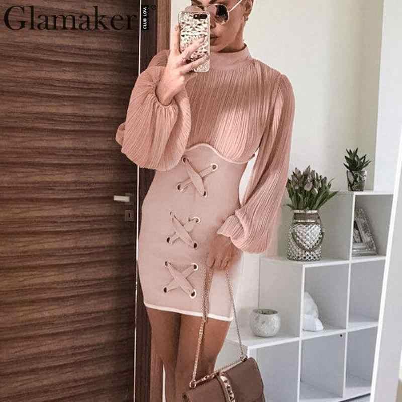 Glamaker, розовое трикотажное Бандажное облегающее мини-платье, женское сексуальное Клубное платье с длинным рукавом-фонариком, Осень-зима, плиссированные вечерние платья, новое платье