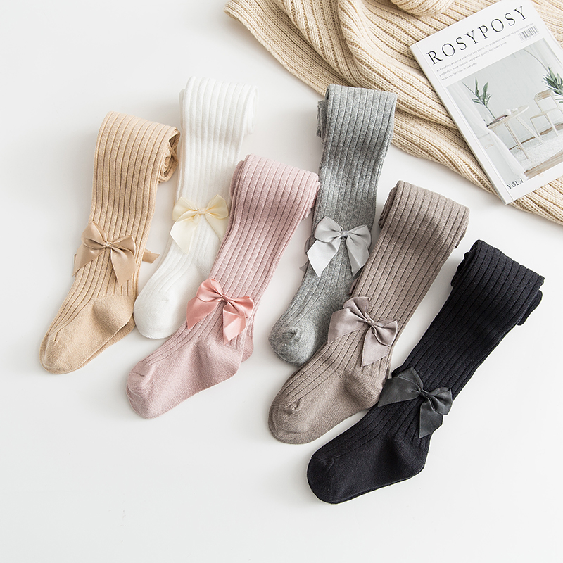 YWHUANSEN 0-10 Yrs Children Spring Autumn Winter Bowknot Tights Cotton Baby Girls Pantyhose Kids Infant Knitted Collant Tights 1