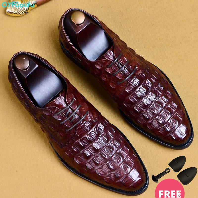 Padrão de Crocodilo Genuíno dos Homens Dedo do pé dos Homens Rendas até Sapatos Qyfcioufu Couro Oxford Sapatos Apontados Vestido Tamanho Grande Formais Eua 11.5