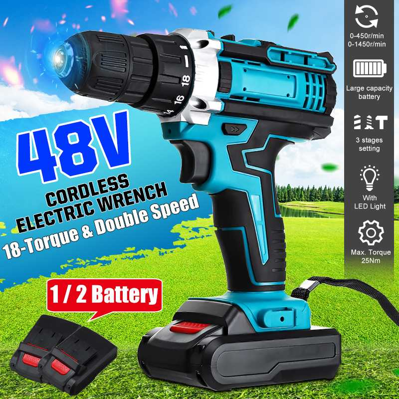 48V 2-Speed Cordless Drill Electric Screwdriver 18+2 Torque Mini Wireless Power Driver With 1/2pcs DC Lithium-Ion Battery Blue