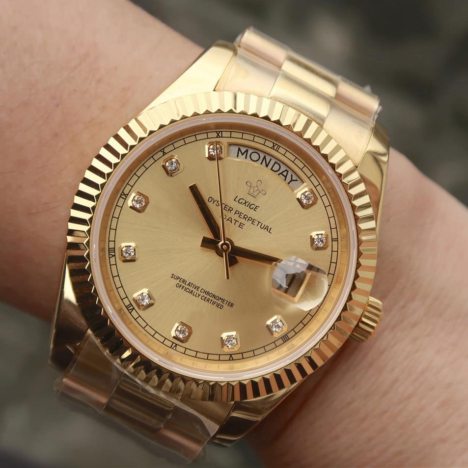 2019 Famous Watch Top Brand Luxury Watchs Steel Male Fashion Business AAA Men Wrist Watch for men Waterproof day-date gold Clock(China)
