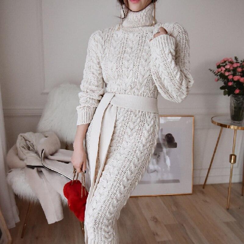 Женское вязаное платье с высоким воротником, элегантное винтажное платье-свитер, зима 2020