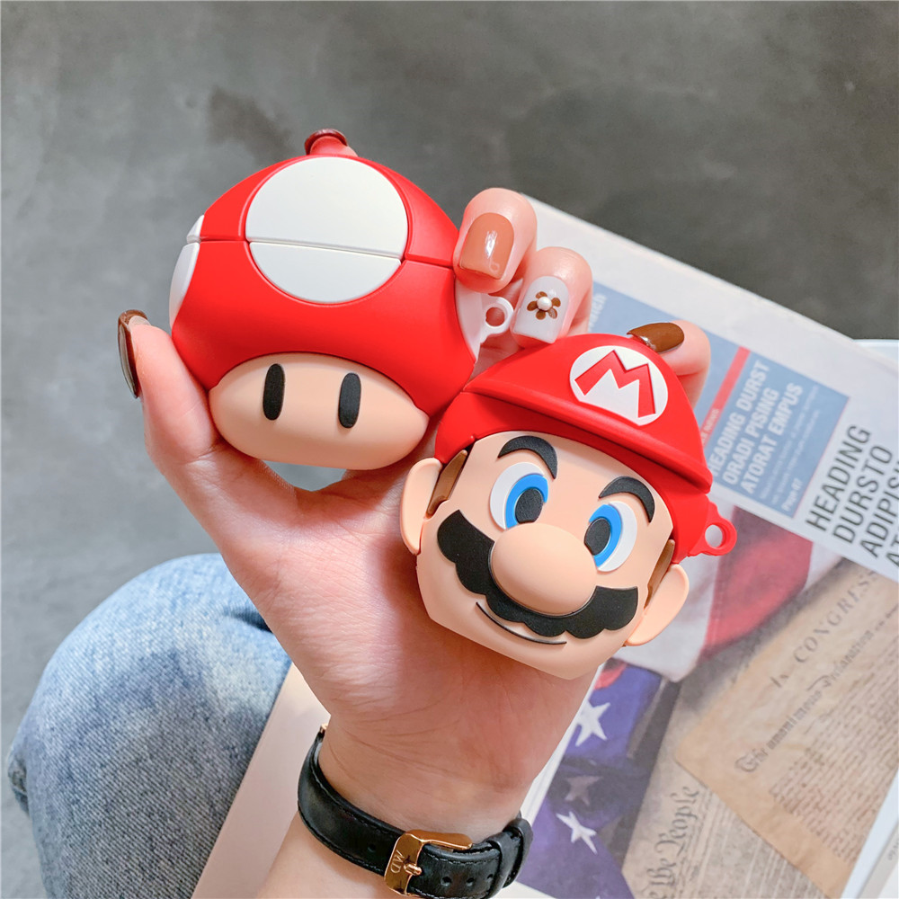 Cute Mushroom For Airpods Case 3d Silicone Buletooth Earphone