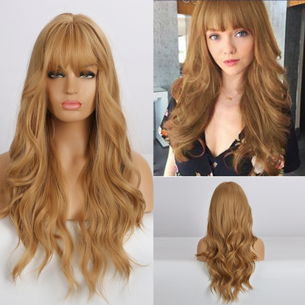 EASIHAIR Blonde Wavy Long Synthetic Wigs For Women Wigs With Bangs Body Wave Natural Hair Wigs Heat Resistant Cosplay Wigs
