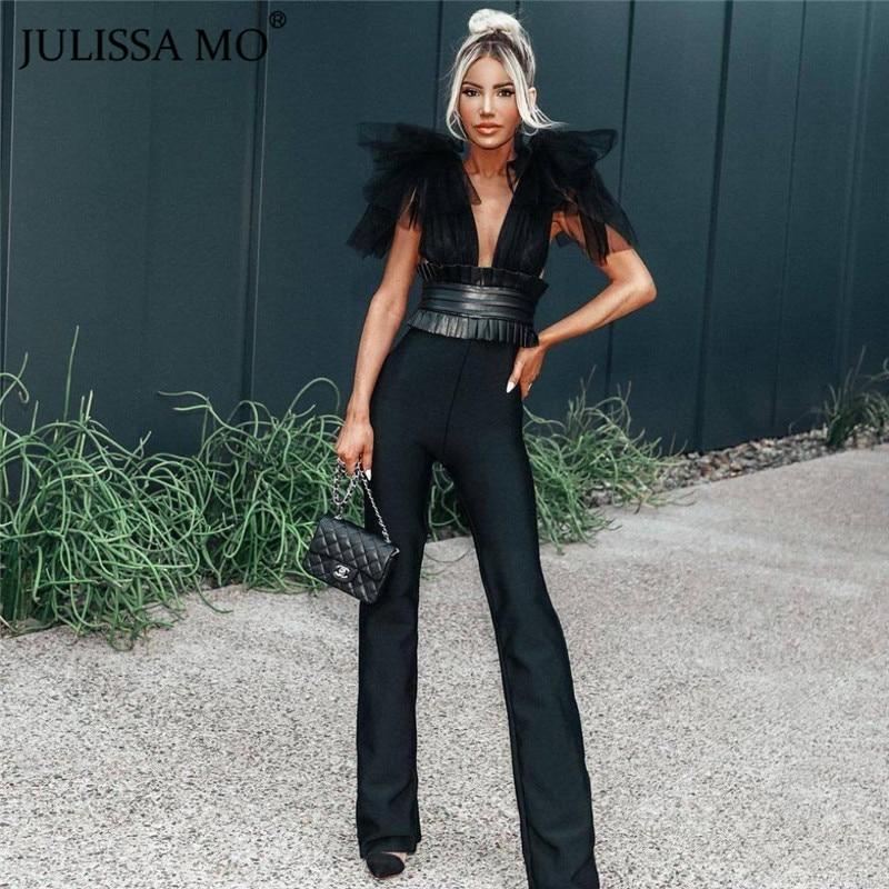 JULISSA MO Elegant V Neck Mesh Sleeve Jumpsuit Women 2019 Autumn PU Belts Sexy Wide Legs Jumpsuits White Office Ladies Overalls