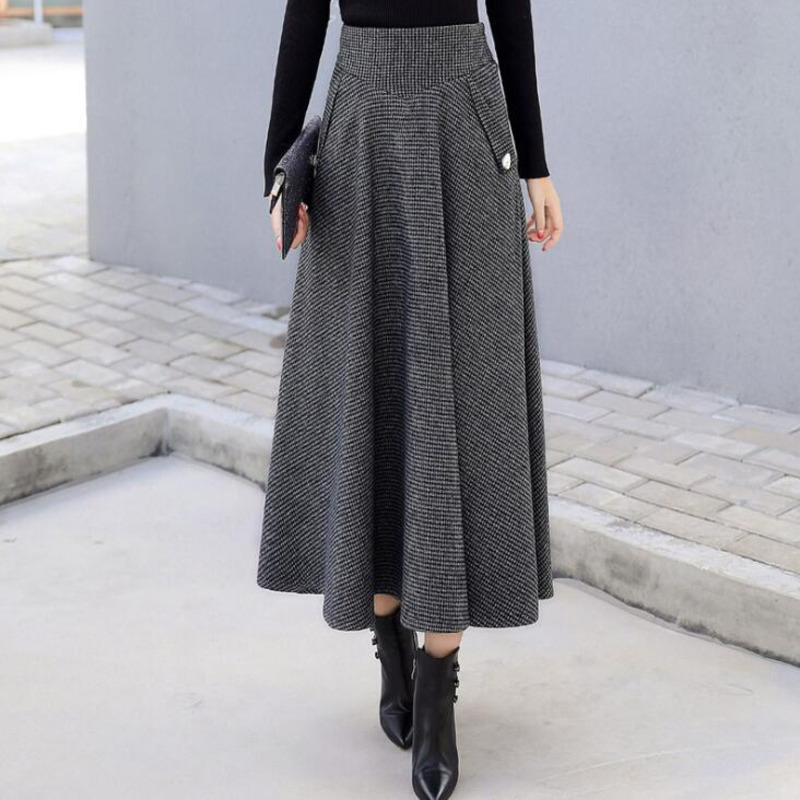 #0246 Ladies Woolen Skirts High Waist Midi A-line Pleated Skirt For Women Plaid Wool Skirt Thick Warm Winter 2019