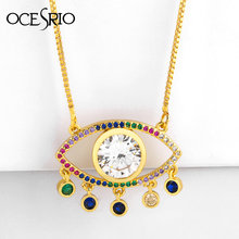 2019 Turkish Lucky Evil Eye Necklace Gold Chain Cubic Zirconia Big Crystal White Eye Pendant Necklaces Fashion Jewelry nke-p55(China)
