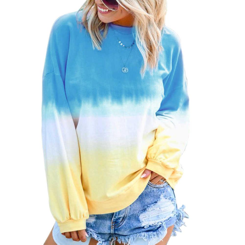 MoneRffi נשים O-צוואר ארוך שרוול שיפוע קשת צבע הדפסת חולצות גבירותיי מקרית Loose Slim Fit רך חולצות 2019 חדש