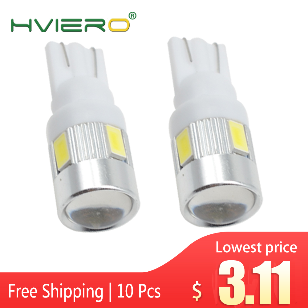 10X Xenon White Blue Red Green Yellow 6SMD 5630 Lens Wedge Solid Backup Bulbs Side Marker Parking Tail Light Auto Led