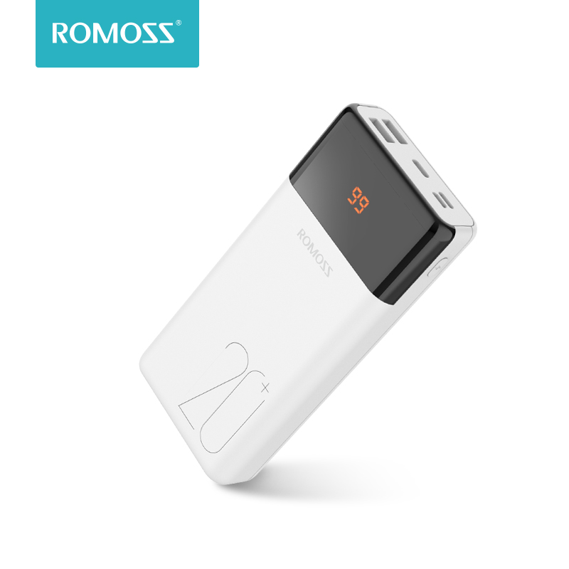 20000mAh ROMOSS LT20Plus Power Bank Portable External Battery With QC Two-way Fast Charging Portable Charger For Phones Tablet