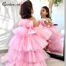 Dresses Puffy Tulle Flower-Girl High-Low Wedding Baby Princess First-Communion-Gown Brithday
