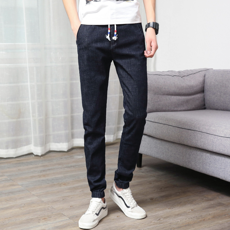 18 Years Spring And Summer New Season Cool Fashion Fashion Man Casual Slim Fit Jeans Elastic Waist Beam Leg Design