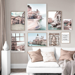 Trevi Fountain Venice Seaside Town Church Wall Art Canvas Painting Nordic Posters and Prints Wall Pictures For Living Room Decor