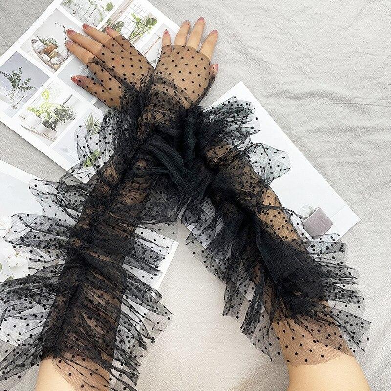 Newest Dots Mesh Lace Long Gloves Women Fingerless Gloves For Dancing Wedding Party Elegant Black Sleeve Mittens Female Gloves