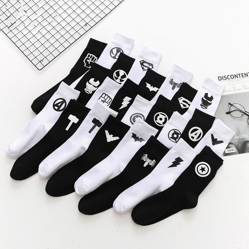 1Pair Male Crew Socks Men Casual Socks Cotton Fashion Creative Icon Solid Black Off White Funny Cute Male Socks Mid Unisex Sock
