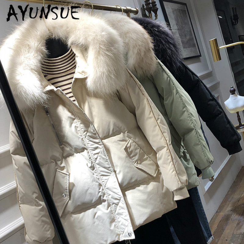 AYUNSUE Winter Coat Women Down Coat White Duck Down Jacket Women Korean Puffer Jacket Warm Parka Chaqueta Mujer 9408-2 YY1504
