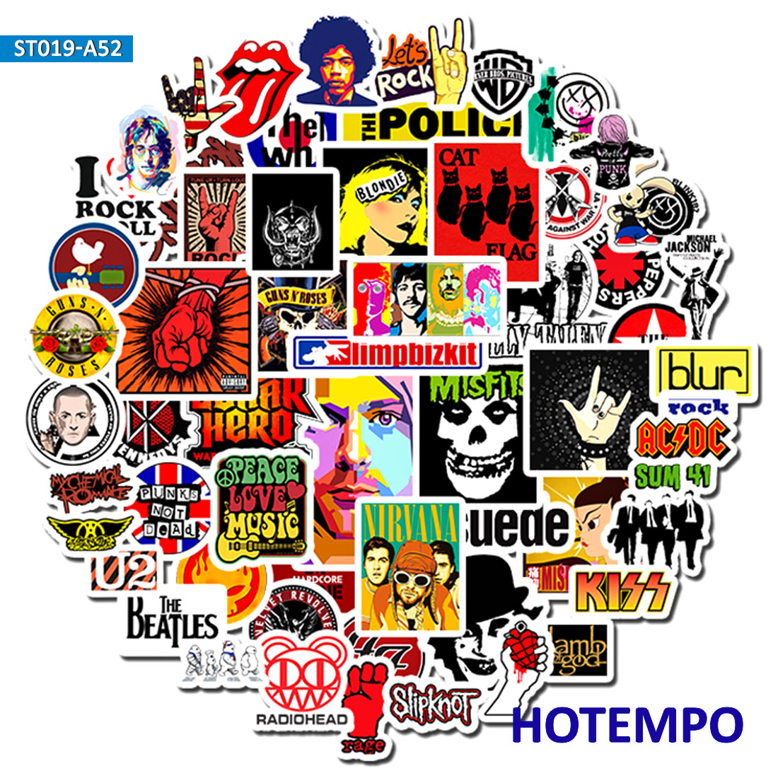 52PCS  Rock And Roll Punk Music Band Stickers For Mobile Phone Laptop Luggage Guitar Case Skateboard Bike Car Stickers R