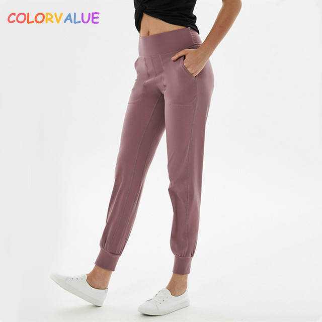 $ US $23.46 Colorvalue High Waist Squatproof Fitness Joggers Yoga Pants Women Stretchy Running Workout Sport Trousers with Two Side Pocket