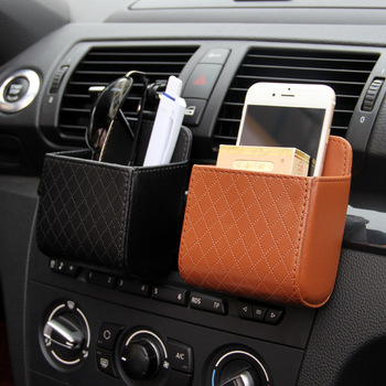 Leather Car Air Outlet Storage Box Storage Bag with Hook Auto Seat Back Pouch Bag Glasses Coin Phone Car Organizer Container image