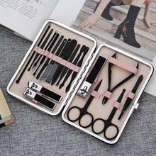 Kit complet de manucure 18 en 1 en acier inoxydable, coupe ongles professionnels, outils de pédicure