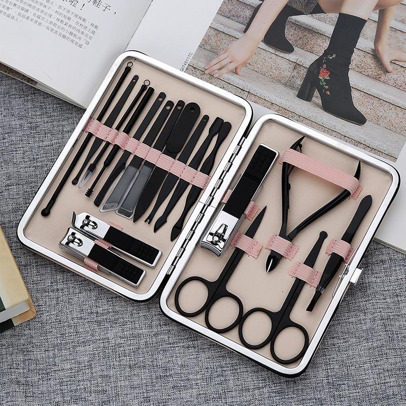 conjunto de manicure em aco inoxidavel 18 em 1 kit profissional de cortador de unhas ferramentas