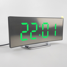 Electronic Alarm Clock Noiseless Design Digital LED Large Display Mirror Power off Memory Function AAA Not Batteries