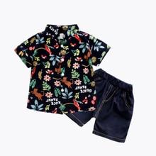 цена 2020 summer new baby boys clothing fashion shirt+shorts sets boy clothes short sleeve+pants 2Pcs set kids clothes holiday 2-8age онлайн в 2017 году