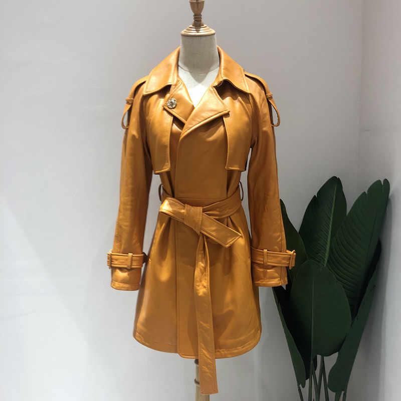 Женские пальто из настоящей овчины 2019, модное зимнее пальто из овчины, Женская ветровка из натуральной кожи, длинное пальто синего и желтого цвета