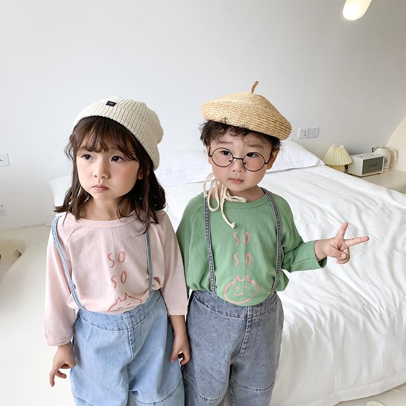 3222 Children's T-shirt 2020 Spring New Korean Boys And Girls Cartoon Printed T-shirt Children's Long Sleeve Bottoming