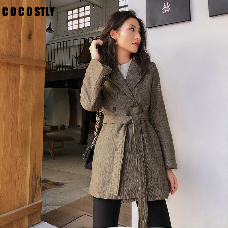 Vintage Patchwork Lace Up Women Jacket Blazer Retro Loose Fashion Suit Coat With Belt 2019 Autumn Female Office Lady Outwear