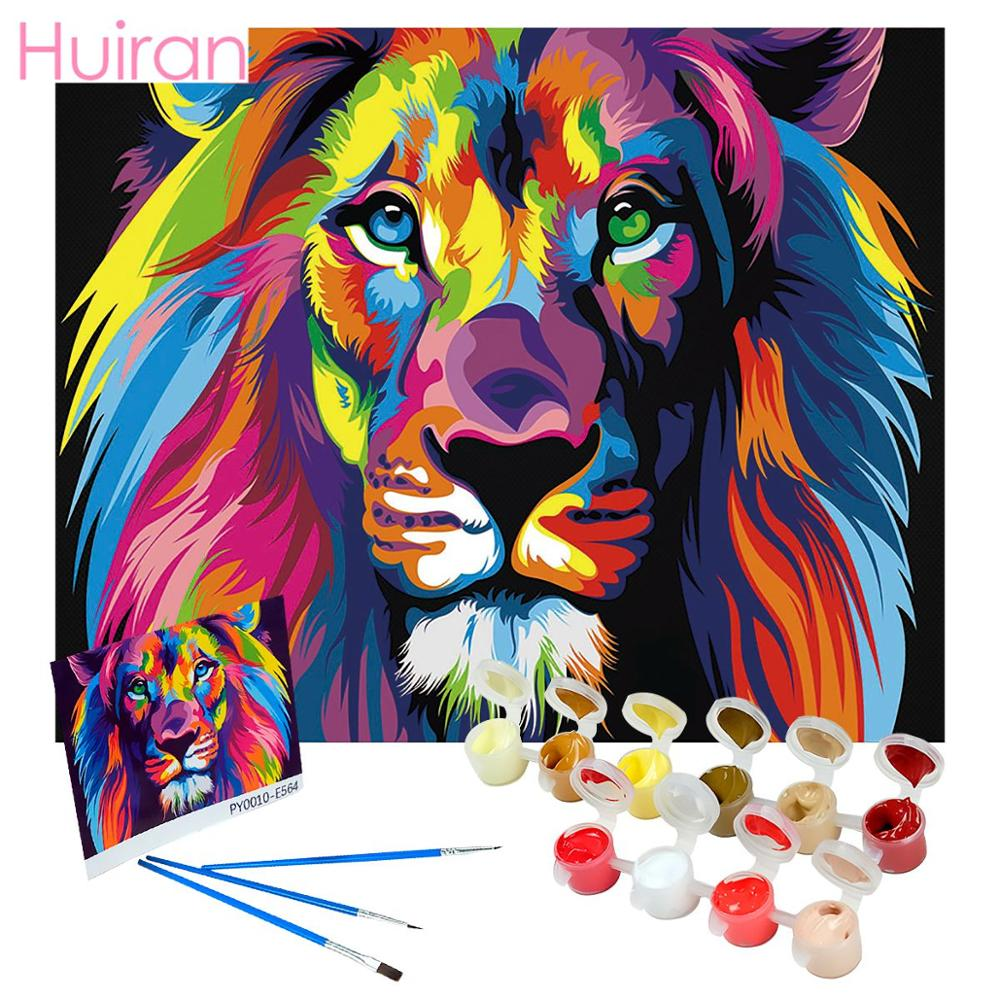 Frameless Colorful Lion Animals Abstract Painting Diy Digital Painting By Numbers Modern Wall Art Picture For Home Wall Artwork(China)