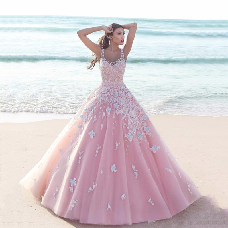 <font><b>Sexy</b></font> Pink Evening Dresses Scoop Neck 3D Floral Appliques Ball Gown long Tulle Sweet <font><b>16</b></font> <font><b>Girls</b></font> Dress Formal Evening Gown Elegent image