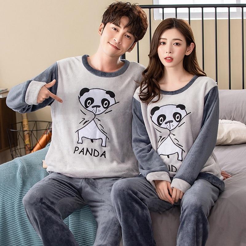 Couples Thick Warm Flannel Long Sleeve Pajama Sets For Women 2019 Winter Cute Cartoon Panda Coral Velvet Sleepwear Men Homewear