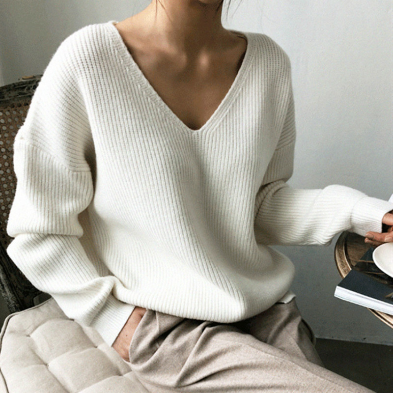 Yocalor 2019 New Autumn Winter Women's Sweaters V-neck Long Sleeve Tops Fashionable Korean Style Knitting Casual Solid Color